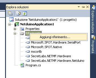 Visual C# aggiungere riferimento