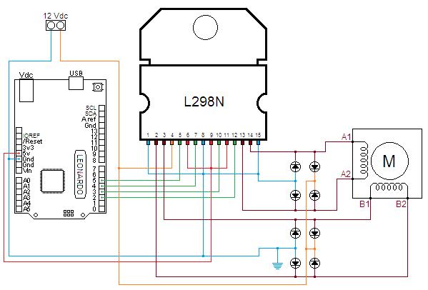 Motore passo passo l298