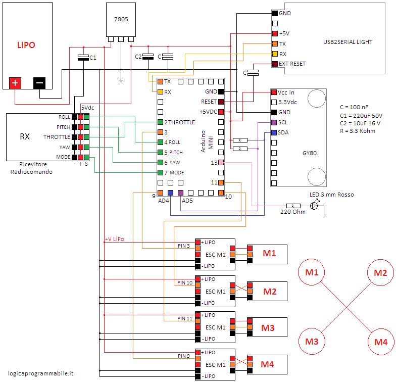 Circuito scheda di controllo arduino multiwii