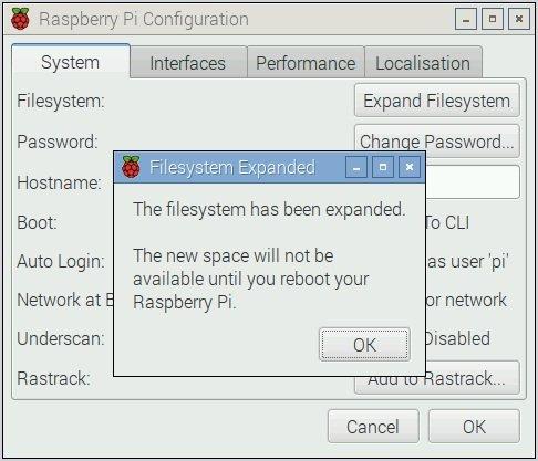 Confirm expand file system raspberry pi