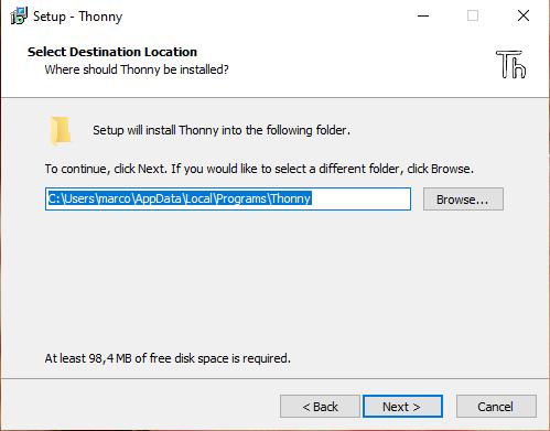 Percorso installazione di thonny
